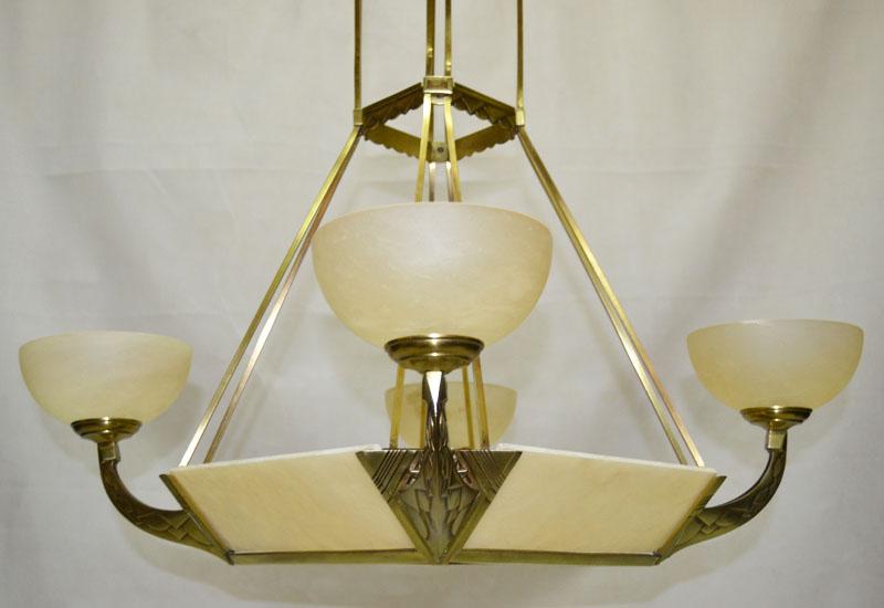L mp de techo gran l mpara en bronce alabastro a os 20 - Lamparas anos 20 ...