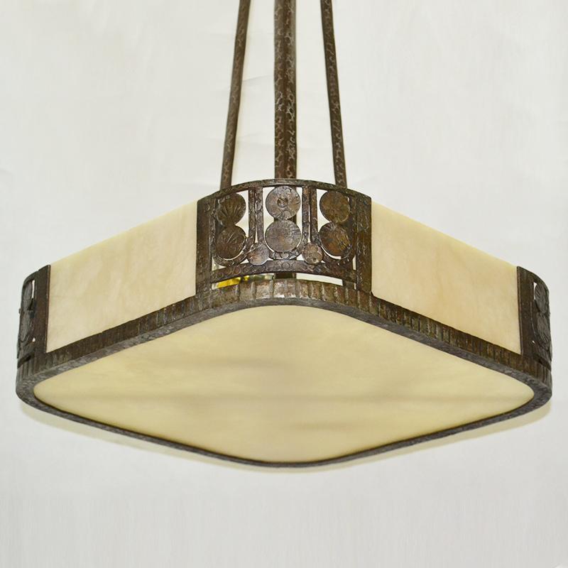 Lámp. de techo | Lámpara de forja y alabastro Art Deco ...